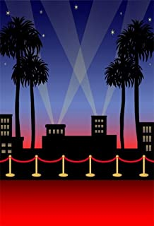 4x6ft Red Carpet Backdrop Movie Night Stage Fence Photography Background Award Ceremony Celebrity Event Party Premiere Banner Photo Studio Props Spotlight Hollywood Activity Decor Wallpaper