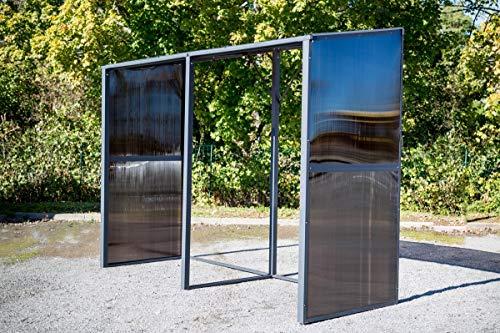 Habrita Foresta - Carport mural multi-fonctions aluminium gris anthracite  2,81 m2 - RB280110AL
