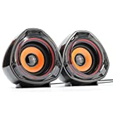 WESDAR Computer Speakers, 3.5mm USB Powered Subwoofer PC Speakers for Desktop Laptop Notebook, Pack of 2 (Orange)