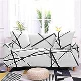 GFDGDS Cubierta de sofá de Estiramiento, Tapas de sofá de poliéster elástico Impreso Blanco, Cruce Universal sofá Instalado Antideslizante para Funda Antideslizante Protector de Muebles