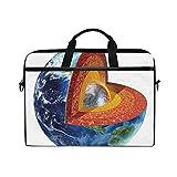VICAFUCI Nuova borsa per laptop 15-15.4 pollici Borsa del portatile,Immagine della Terra che mostra la stampa del globo del pianeta a tema di geologia e scienza del nucleo interno