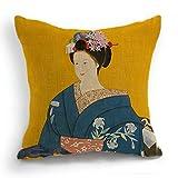 telisha Retro estilo amarillo japonés Geisha azul Kimono de mujer decoración para...