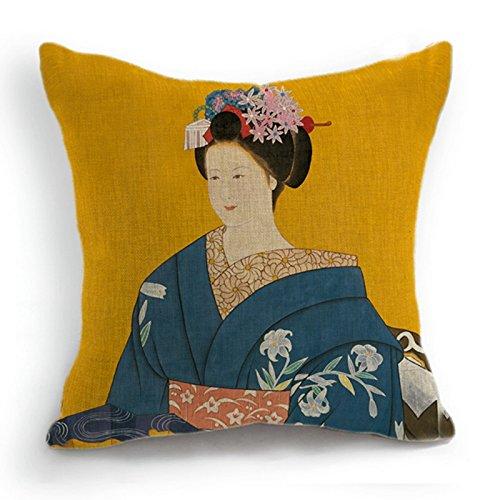 telisha Retro estilo amarillo japonés Geisha azul Kimono de mujer decoración para el hogar manta funda para cojín funda de almohada Sham 18'45cm