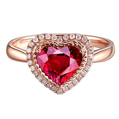 Beydodo Anillos de Oro Rosa 18K Mujer Oro Rosa Corazón Turmalina Roja Blanca 1.37ct Anillo Talla 13,5