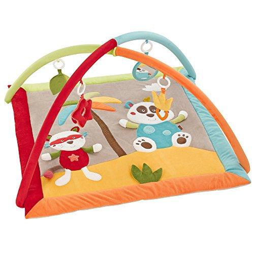 Fehn 067316 3-D-Activity-Decke Jungle Heroes / Spielbogen mit 4 abnehmbaren Spielzeugen für Babys Spiel & Spaß von Geburt an / Maße: 85x85 cm