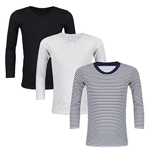 TupTam Unisex Kinder Unterhemd Langarm 3er Pack, Farbe: Farbenmix 1, Größe: 152