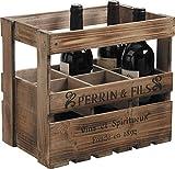 Caisse 6 bouteilles en bois vieilli