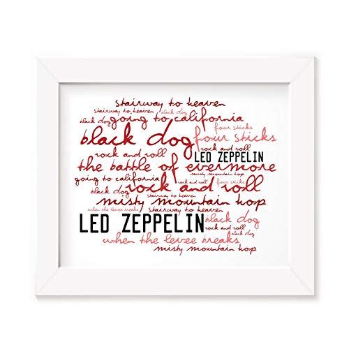 Póster de Led Zeppelin con marco de fotos A4 con texto en inglés John Bonham Jimmy, tamaño A3, letras de canciones
