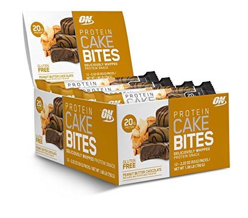 OPTIMUM NUTRITION Protein Cake Bites, Whipped Protein Bars,On the Go, low sugar, Protein Dessert, Flavor: Peanut Butter Chocolate, 12 Count