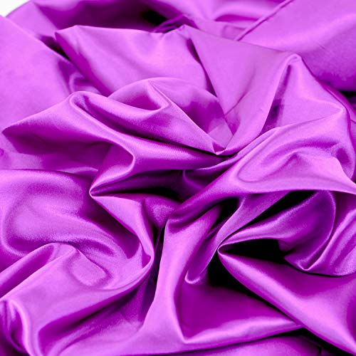 Yard - Tessuto di raso per decorare abiti da sposa, decorazione fai da te, 60 cm, Viola, 3yds