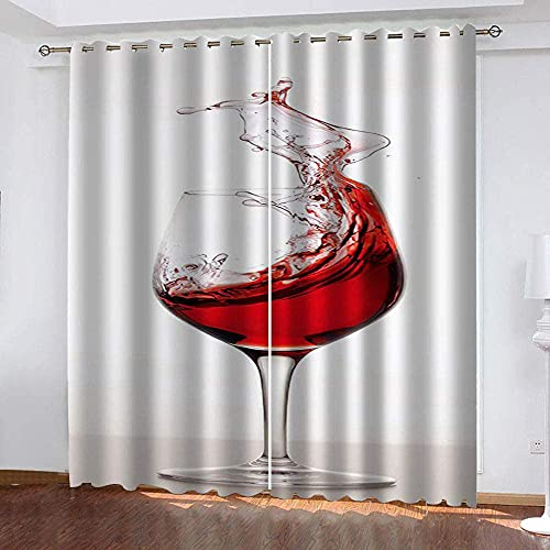 3D Cortinas Opacas De Térmica Aislante Adecuado para Balcon Salón Habitación Dormitorio-Copa de Vino Tinto-Modernos Cortinas Colgando De La Barra De La Cortina