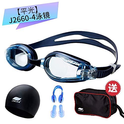 jsauwi Zwembril Zwembril Volwassen Zwembril mannen en vrouwen plat licht bijziendheid zwemmuts set HD volwassen anti-mist waterdicht