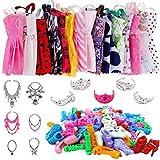 Juego de ropa de muñeca de 35 piezas para muñecas Barbie, faldas de moda, trajes de vestir para muñecas Barbie, que incluyen 12 faldas de boda+12 pares de zapatos+5 tiaras+6 collares muñeca Barbie
