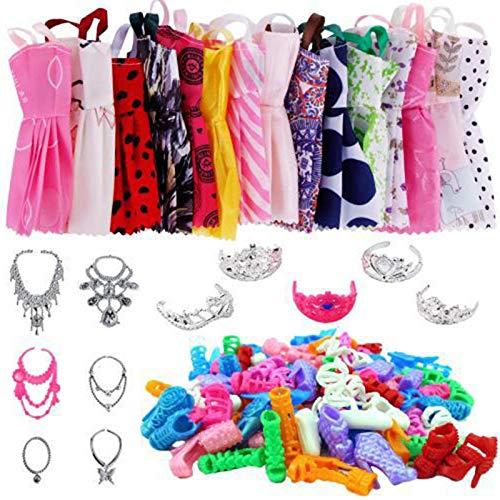 Juego de Ropa para muñecas Barbie Que Incluye 12 Faldas para muñecas, 5 Tiaras 12 Pares de Zapatos 6 Accesorios para muñecas Barbie por Caja de Regalo en Bolsas de Organza con cordón, Regalo Completo