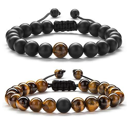 XIAOXIAO 2 unids/set pulsera de cuentas de tigre natural encanto de piedra ónix cuentas par distancia pulseras para mujeres hombres amigos regalo estiramiento joyería