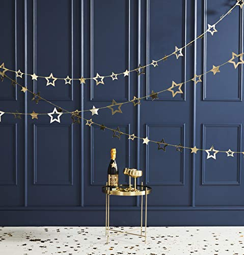 Ginger Ray Gold Star Hanging Bunting Garland Party Christmas Decoration Pop The Bubbly