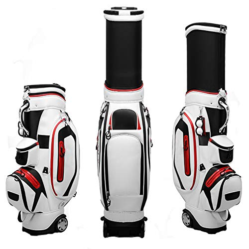AMAIRS Bolsa De Golf, Bolsa Estándar De Golf para Hombres Bolsa Retráctil Impermeable para Transporte Aéreo con Cubierta A Prueba De Lluvia Y Clip De Bola Adecuado para Uso En Campos De Golf,Blanco