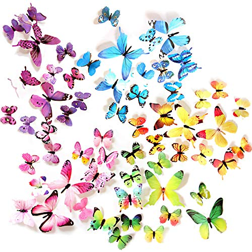 Ewong Butterfly Wall Decals - 60PCS 3D Butterflies Home Decor-Stickers, Removable Mural Decoration for Girls Living Room Kids Bedroom Bathroom Baby Nursery, Waterproof DIY Crafts Art (5 Color)