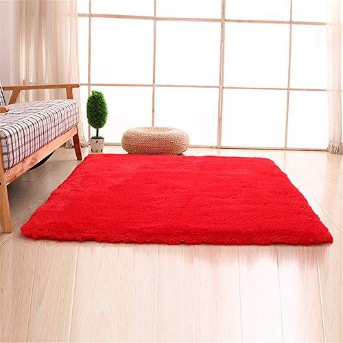 Alfombras, CAMAL Lavable Material de Lana de Seda Artificial Alfombra Decorativo Sala de Estar y Dormitorio (80cmX120cm, Rojo)