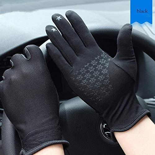 Jamkf Sommer UV Anti-Rutsch-Touch-Screen-Baumwolle atmungsaktiv Driving Ice Silk dünne Abschnitt Kurz Fahrer Sonnenschutz atmungsaktiv Stretch Bequeme Handschuhe Herren (Color : Black D)