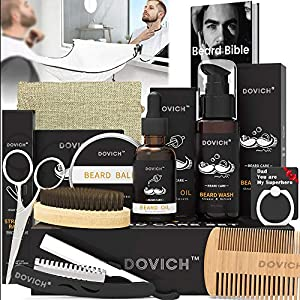 ★ 12 IN 1 BEARD GROOMING CARE KIT - DOVICH beard kit is a well-packed & delicate beard gift set for father, husband, and other males, including Beard Wash, Beard oil, Beard wax, Beard razor, Beard comb, Beard brush, Beard scissors, Beard guide E-book...