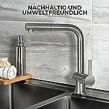Mizzo Edelstahl Wasserhahn Küche Ausziehbar – 100% Edelstahl Mischbatterie - 5