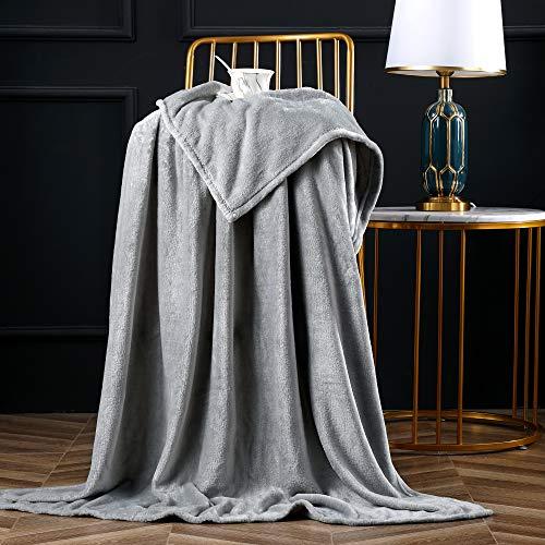 Bertte Fleece Throw Blanket Super Soft Cozy Warm Lightweight Throw for Sofa Couch Luxury Decorative Velvet Pattern Bed Blanket - 50'x 60', Light Grey