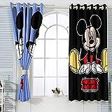 Cortinas decorativas Mic-key Min-nie Mouse Cortinas para dormitorio infantil Blackout cortina de ventana de 132 x 214 cm