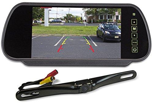 Rockville Black Metal License Plate Bar Type Backup Camera+7' Mirror Car Monitor