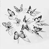 WandSticker4U®- 36er-Set 3D Schmetterlinge mit Glitzern SCHWARZ WEIß I Butterfly Dekoration Fenster Möbel Basteln Hochzeit Tischdeko I Wand Deko für Wohnzimmer Schlafzimmer Kinderzimmer Kinder - 5
