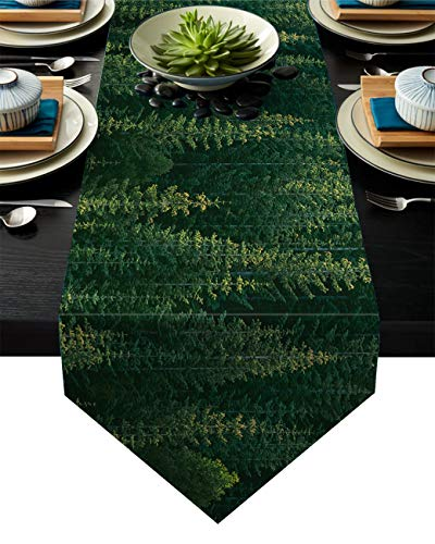 Green Pine Trees Forest Table Runner Christmas Winter Holidays Cotton Linen Tablecloth Scarfs for Morden Greenery Garden Wedding Party Dinner Kitchen Dinning Table Setting Home Decorations 18x72inch