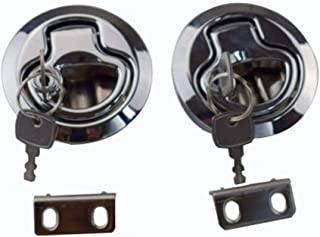 2PCS Flush Pull Hatch Latch Lock PA-6 Insert with Keys for Boat Marine Hardware