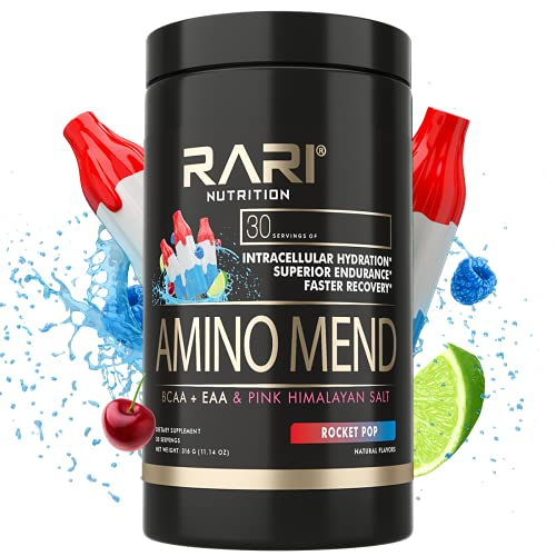 RARI Nutrition Amino Mend - Natural BCAAs Amino Acids Powder   Keto Friendly Aminos w/ Pink Himalayan Salt for Endurance & Muscle Recovery   Workout Energy Drink (Rocket Pop)   30 Servings