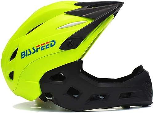 H_y Einstellbarer Kinder-Sportfahrradhelm, Mountainbike Leichter Fahrrad-Roller Abnehmbare Kappe Kinn Voller Helm Größe 18.1-20.9in