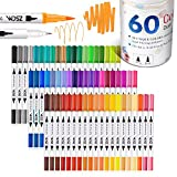 ZSCM Dual Brush Pens Art Markers, 60 Colors Adult Coloring Books Drawing Colored Pens Fine Point Water Based Markers, for Kids School Supplies Note Taking Bullet Journal Sketching Christmas Crafts