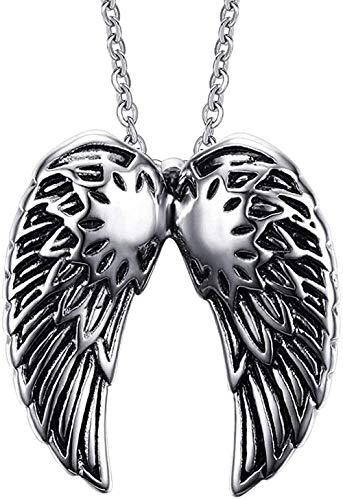 Collar Pend de plumas de ala de ángel de acero inoxidable para hombres, regalo único, recuerdo