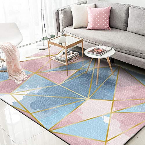 Alfombra moqueta para el Suelo Estilo de Tinta Rosa Azul con patrón de triángulo geométrico de Graffiti Room Decor moqueta 100*160cm