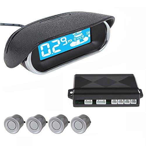 ePathChina Dual CPU Car/Truck/Vehicle Mini Car LED Display 4 Sensors Kit Reversing Parking Sensor/Backup Sensor/Reversing Sensors System Radar Buzzer System,Three Stage Bi-Bi Sound Alarm(Silver)