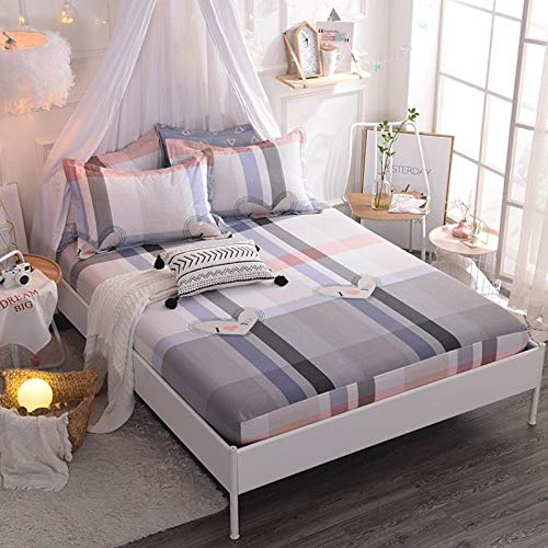 HJUYT (New On Product) 1pcs 100% Cotton Printing bed mattress set with four corners and elastic band sheets(pillowcases need order),hualiqingchun,100X200X25cm