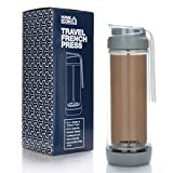 Home Icon - Cafetera de viaje con prensa francesa (jarra de vidrio aislado al vacío con tapa antigoteo, 400 ml, 2 tazas)