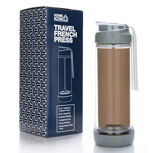 Home Icon Kaffeebereiter - Reise French Press Cafetiere, Travel Press, Tragbare Kaffeebrüher Kanne Vaakumisoliert aus Glas mit Auslaufsicherer Deckel 400 ml (2 Tassen)