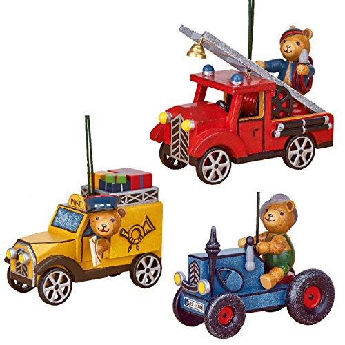 Unbekannt Hubrig Neuheit 2018 - Set 4 - Baumbehang Teddy - Feuerwehr Postauto Traktor