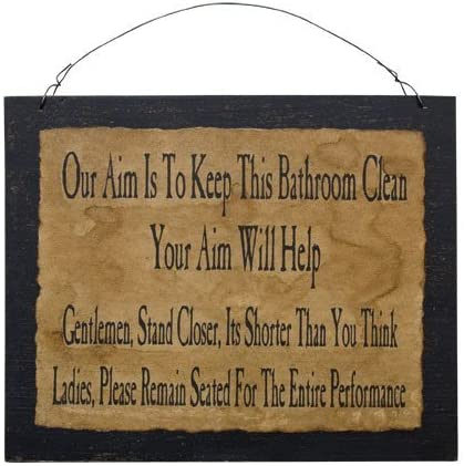 Clean Bathroom Sign Funny Distressed Pr We Branded goods OFFer at cheap prices Black Country Wood Board