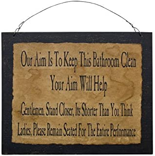 Clean Bathroom Sign Funny Distressed Black Wood Board Country Primitive Wall Décor