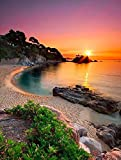 5D-Diamant-Gemälde zum Selbermachen, Strand-Sonnenaufgang, rund, Diamant-Kristall,...