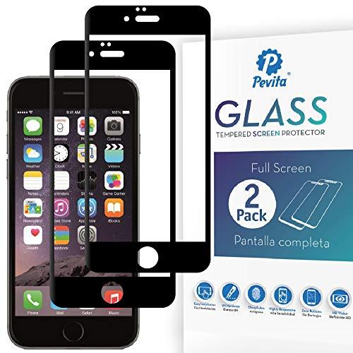 Pevita Protector de Pantalla Compatible con iPhone 6 / iPhone 6S. [2 Packs] Full Screen Black. Dureza 9H, Sin Burbujas, Fácil Instalación. Cristal Templado Premium para iPhone 6 / iPhone 6S