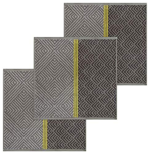 Lashuma Geschirrtücher Frottee, 3er Set Küchentücher Grau - Platin, Größe: 50x50 cm