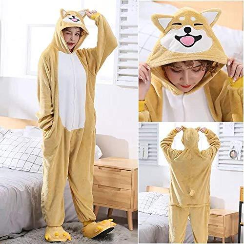 Schlafanzug Kigurumi Akita Hund Onesie Frauen Mädchen Süße Anima Cartoon Gelber Hund Insgesamt Winter Warmer Weicher Flanell Anzug-Akita Hund_M.