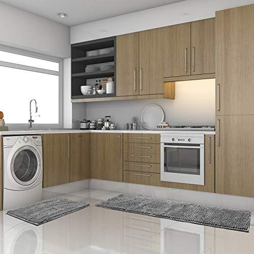 "Pretigo Kitchen Rug Sets - Rugs for Kitchen Floor Washable,Non-Slip Soft Kitchen Mat Set,Chenille Microfiber Material, Super Absorbent 17""×48"" + 17""×24"" (Grey)"
