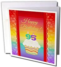 3dRose Cupcake with Number Candles, 95 Years Old Birthday - Greeting Card, 6